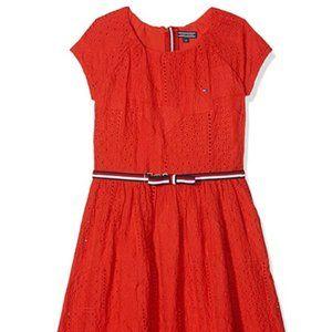 Tommy Hilfiger Red Charming Shiffley Dress Size 8